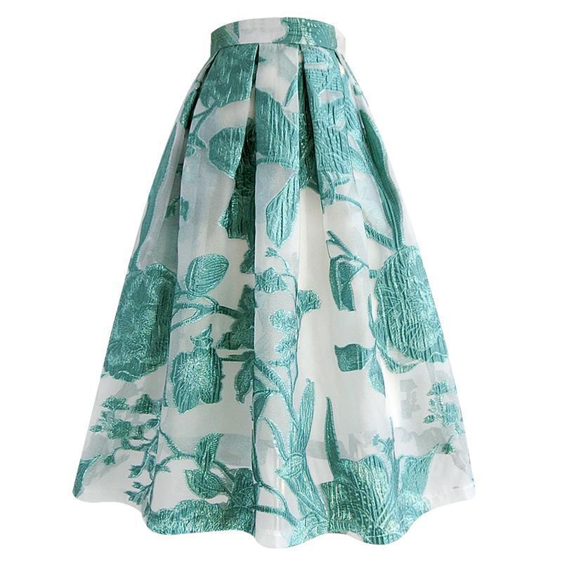 ボタニカル刺繍フレアスカート