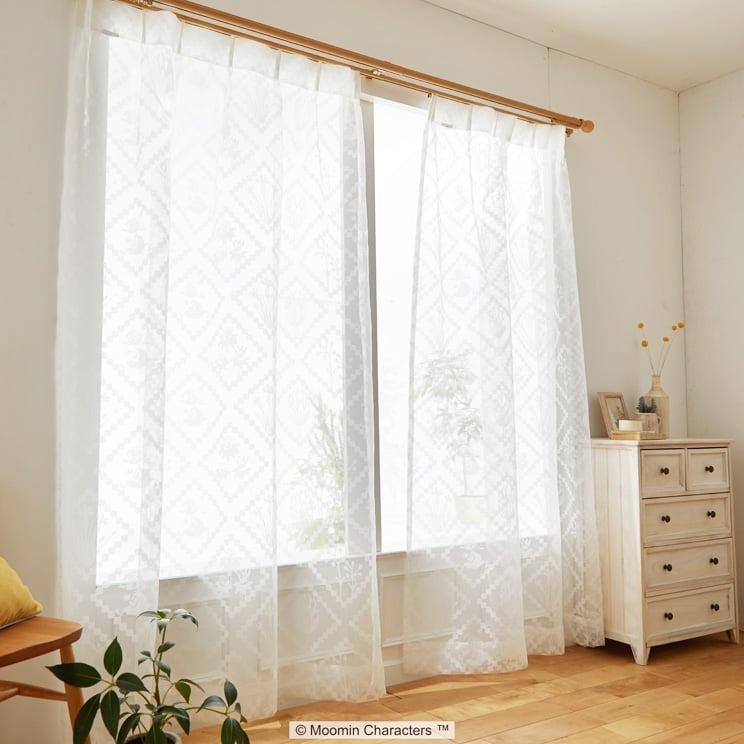 【最短8営業日で出荷】ボイルレースカーテン ムーミン 「HISHIGATA ヒシガタ ホワイト」 (幅×丈):100×133cm(2枚組) ab-a1018