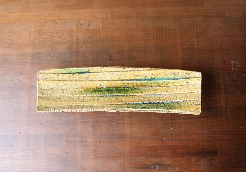 黄瀬戸足付削り細長皿