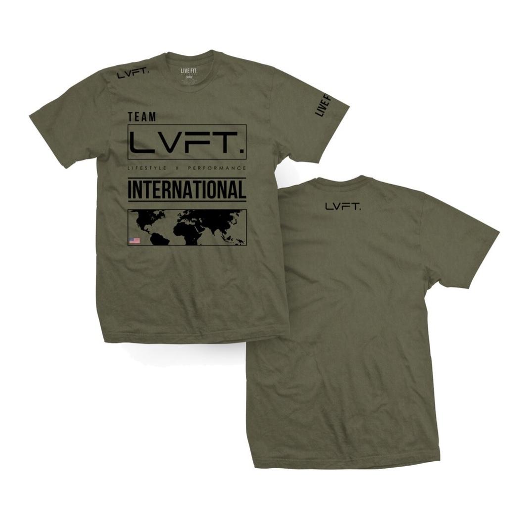 LIVE FIT International Tee- Olive / Black