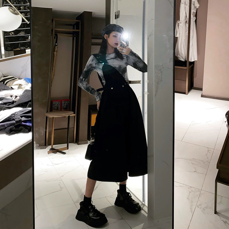 one shoulder overall skirt