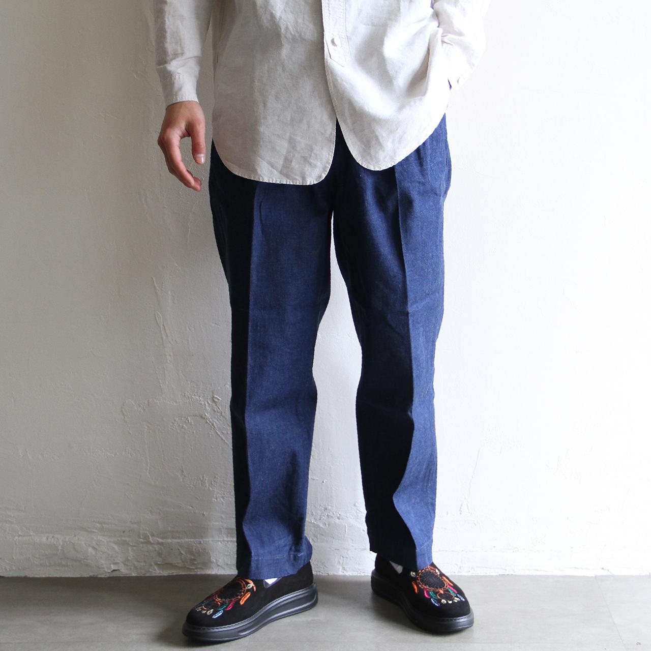 H.UNIT【 mens 】work denim two tuck trousers