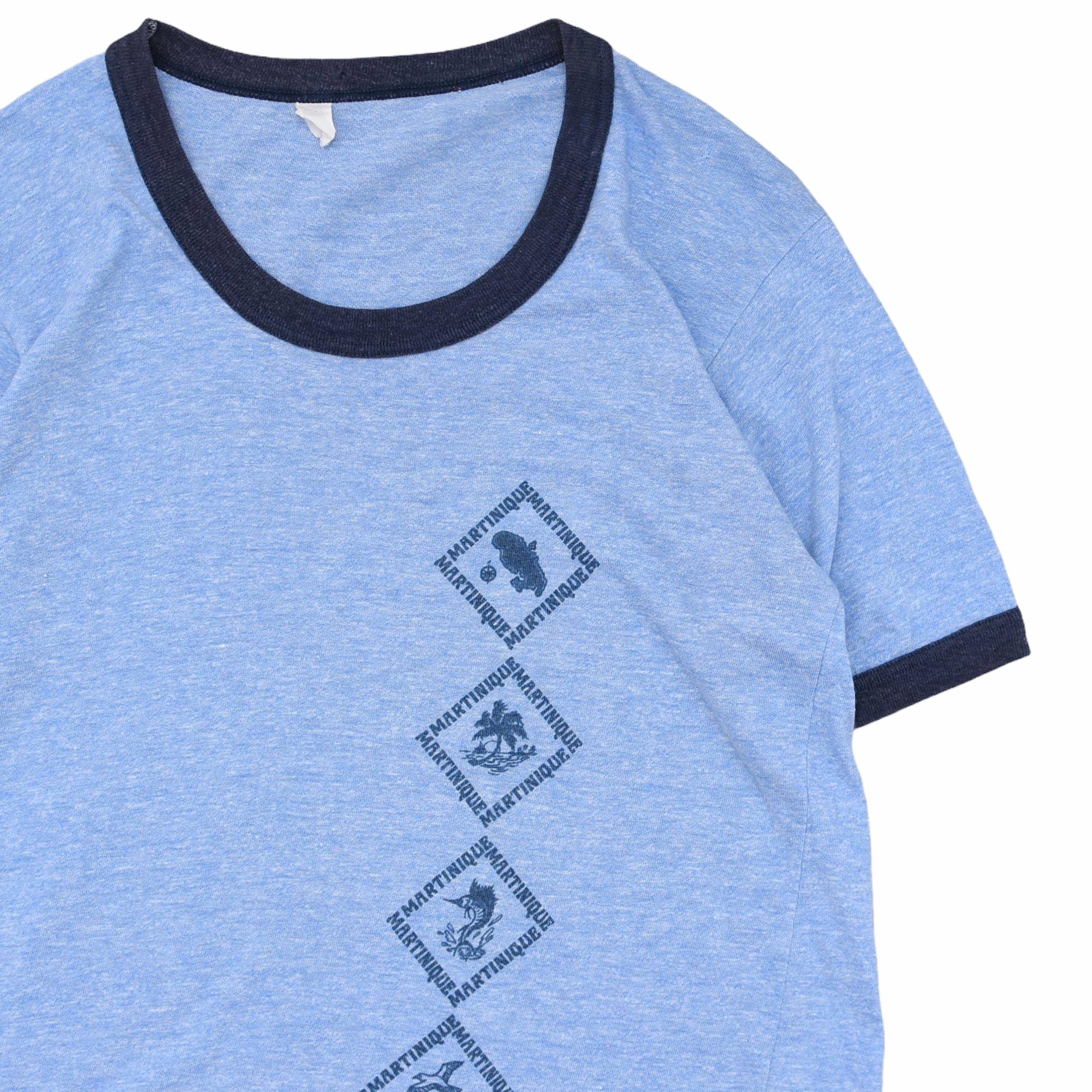 Eur vtg MARTINQUE print ringer T-shirt