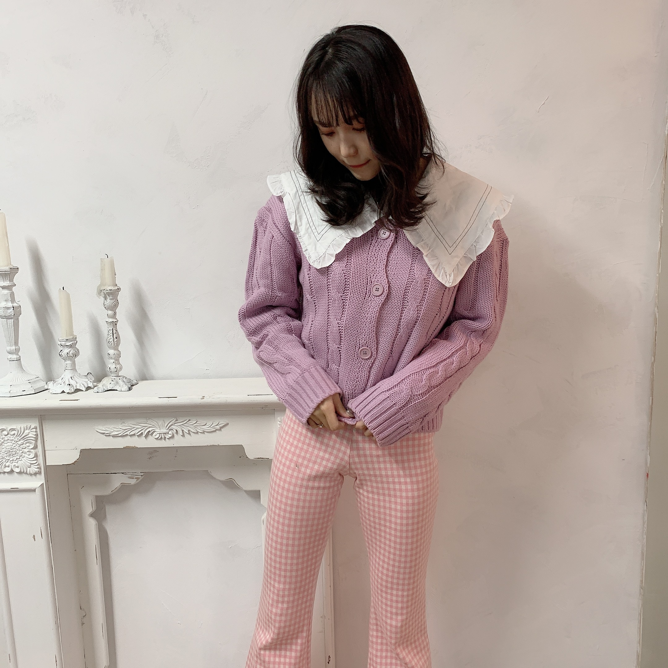 gingham check flare pants