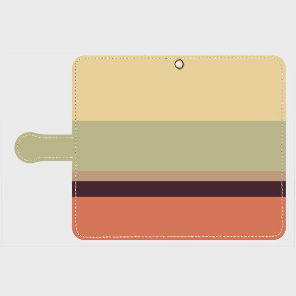 レトロストライプ(薄黄・薄緑・薄茶・紺・赤)/Androidスマホケース(手帳型ケース)