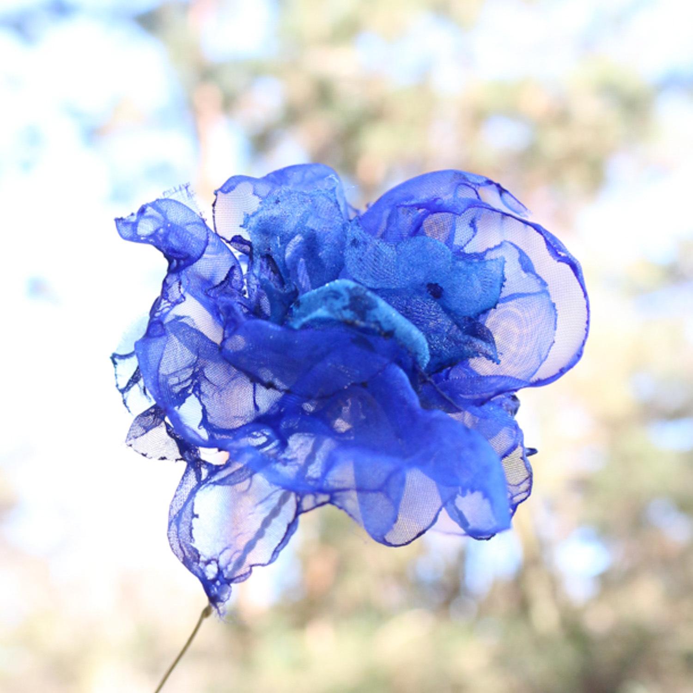 コバルトブルー|カラフルオーガンジーのアートフラワー【造花】