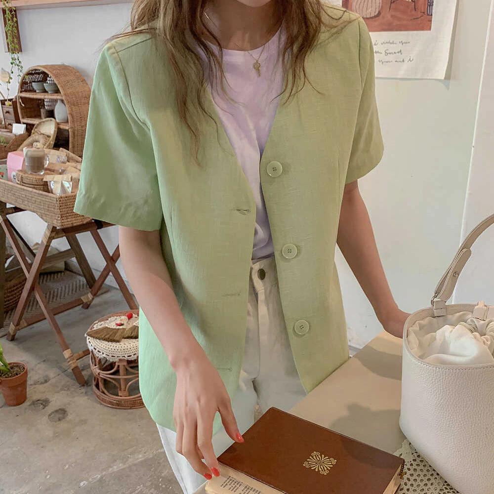 【アウター】グリーンサマー襟なしジャケット