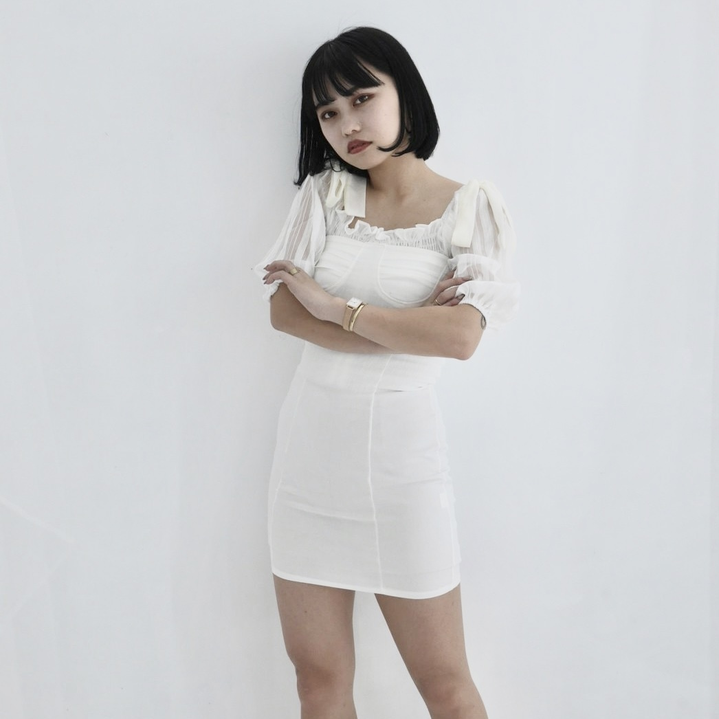 【Belle】ribbon camisole onepiece / white