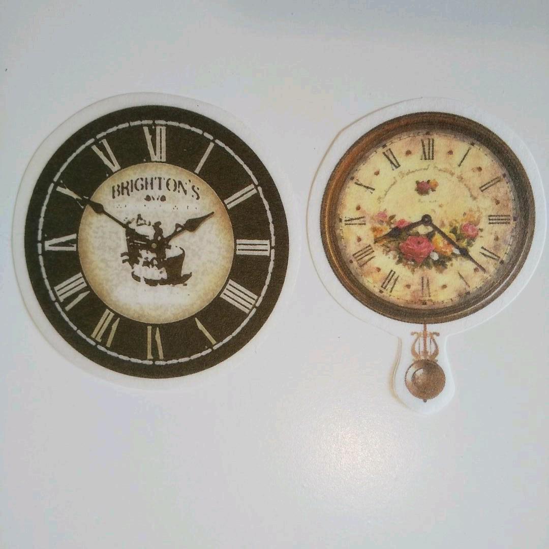 J108 時計 フレークシール 海外 60枚 英文 ヴィンテージ シール コラージュ ジャンクジャーナル 素材 装飾