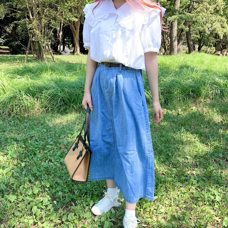 【ももはな】round frill collor blouse