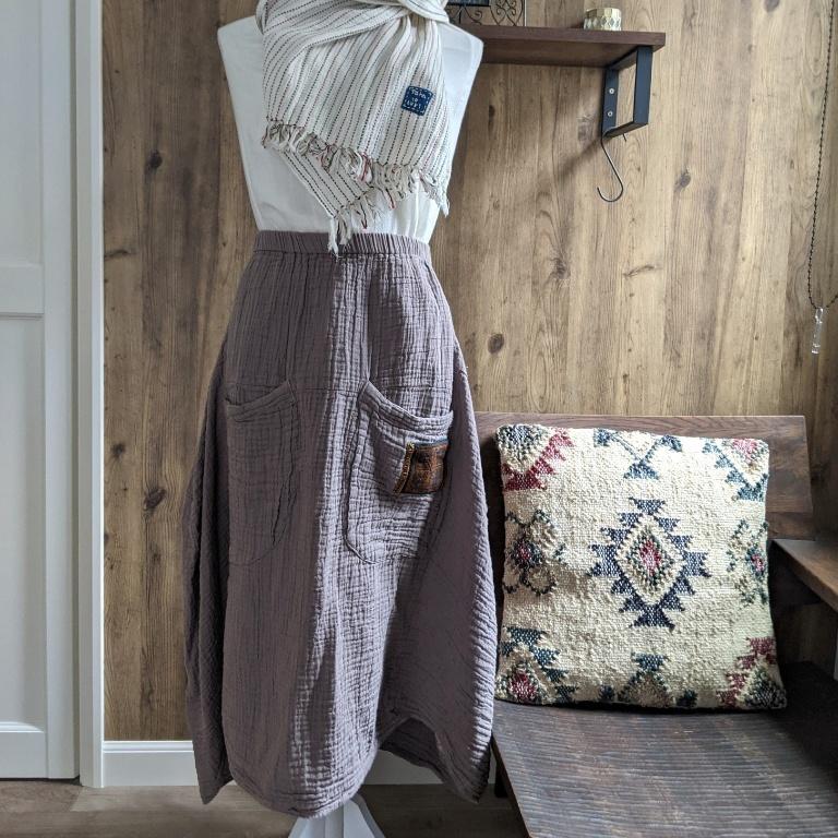 チェンマイ sora to tori オリジナル大きなポケットと民族古布がついたスカート