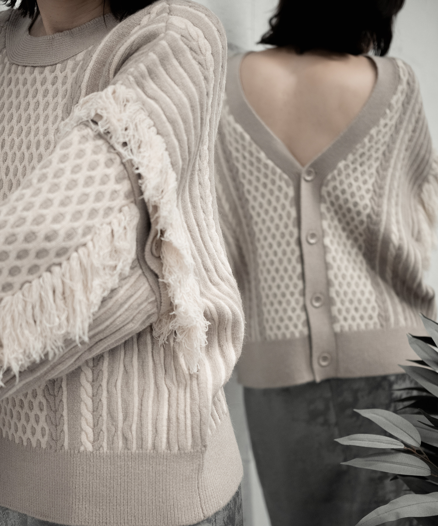 MULTIWAY CABLE KNIT PO(BEIGE)