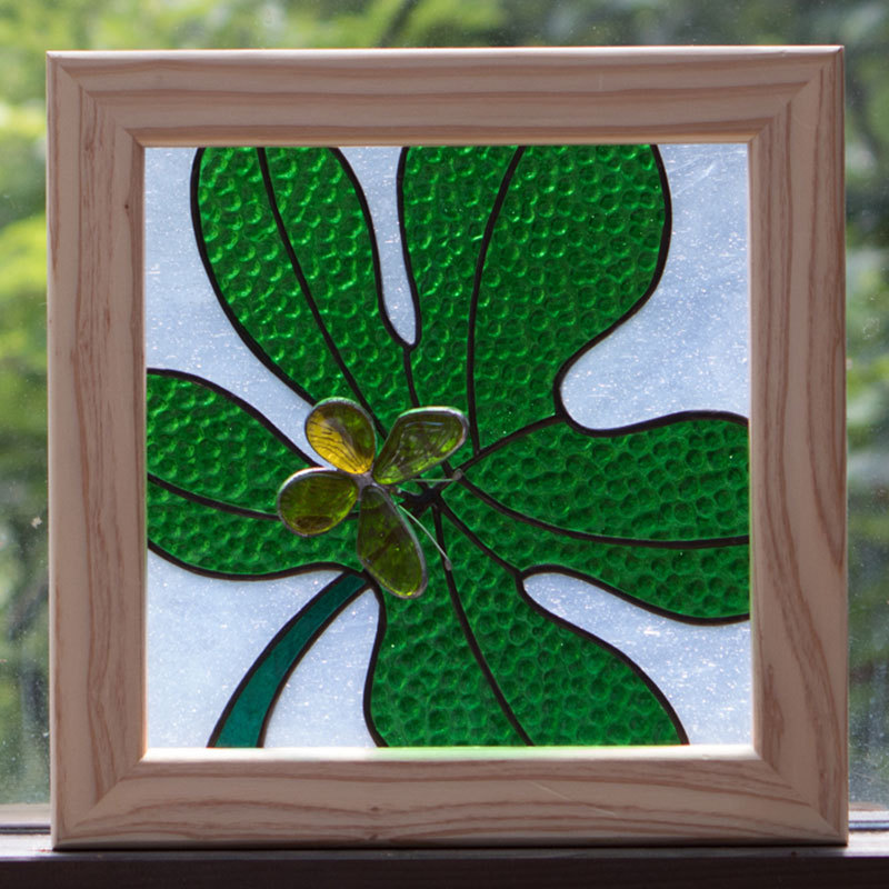 グリーンリーフ(ステングラスのアートパネル) 03050102