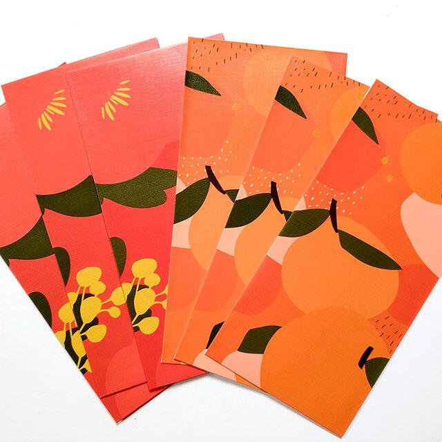 紅包袋(6枚入)H(椿・蜜柑)