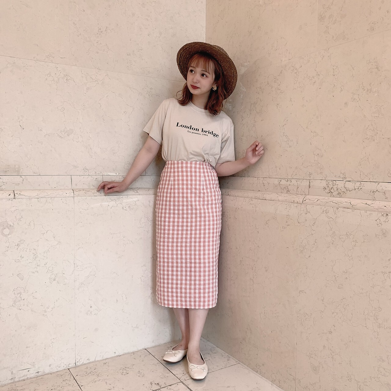 【meltie】gingham tight skirt