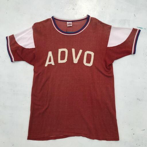 50's 60's MASON レーヨンゲームTシャツ ADVO フェルトプリント レンガ色 USA製 切り替え Lサイズ 希少 ヴィンテージ