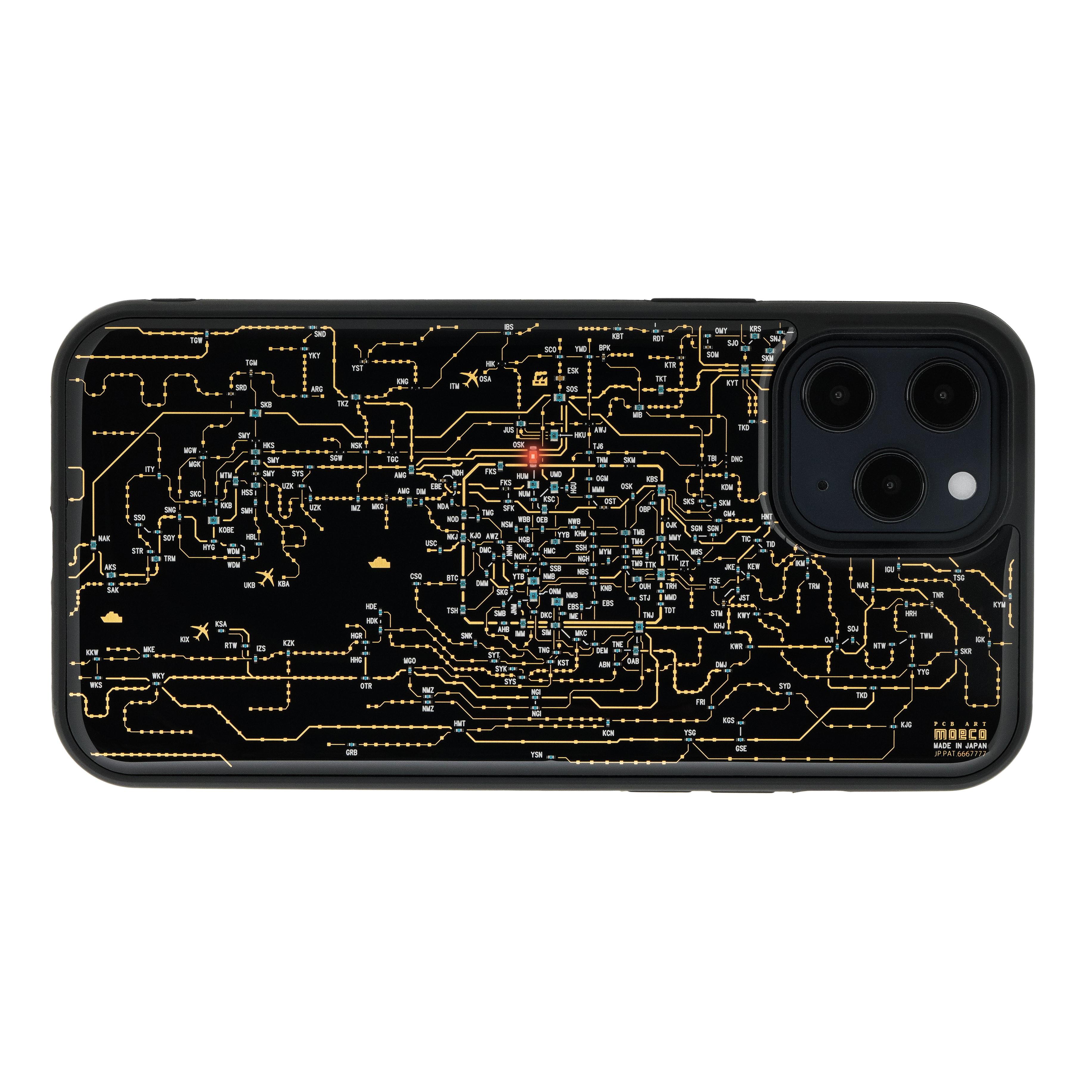 FLASH 関西回路線図 iPhone 12 Pro Max ケース  黒【東京回路線図A5クリアファイルをプレゼント】