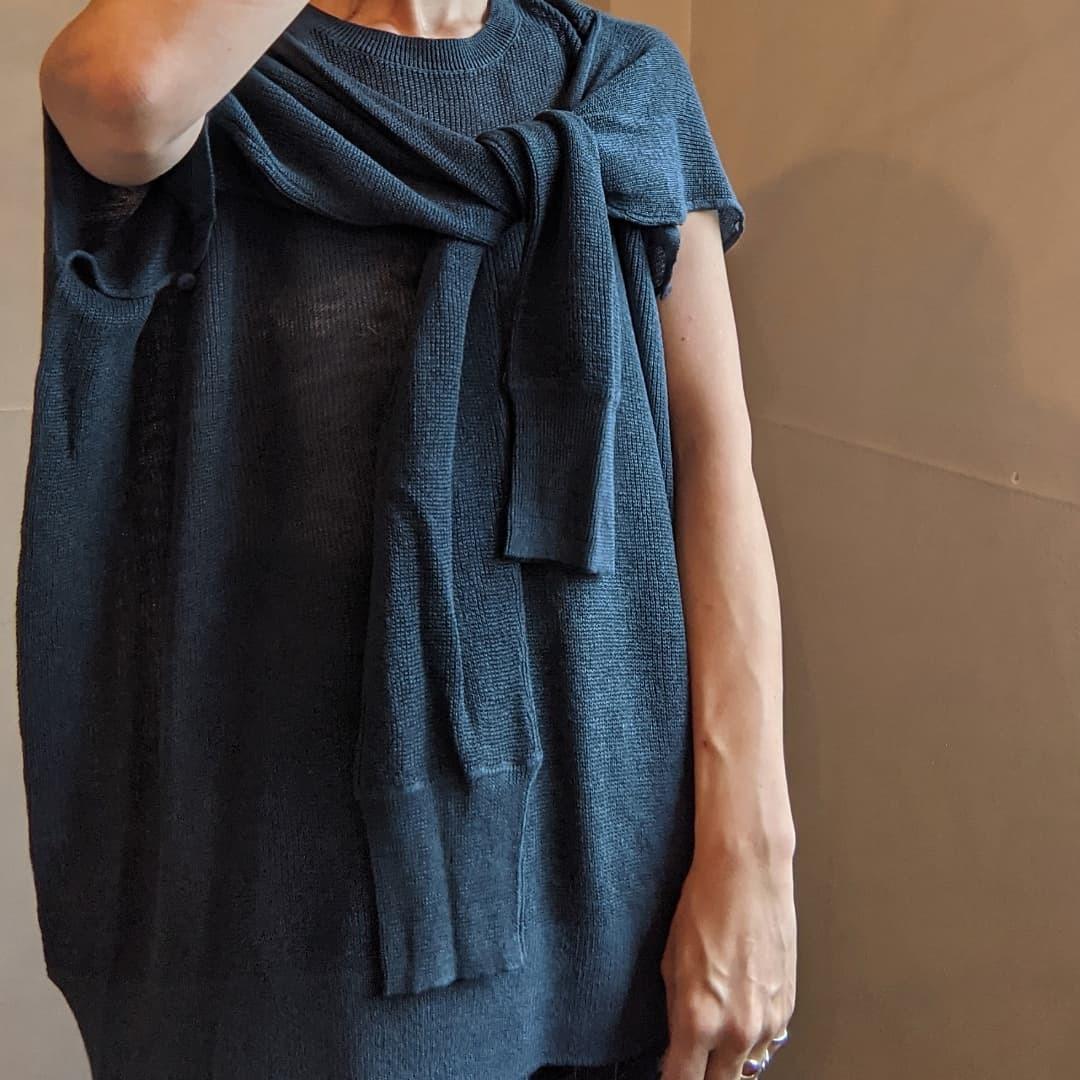 【 C.T.plage 】シーティープラージュ / linen 2way knit / リネンニット / blue / italy  yarn