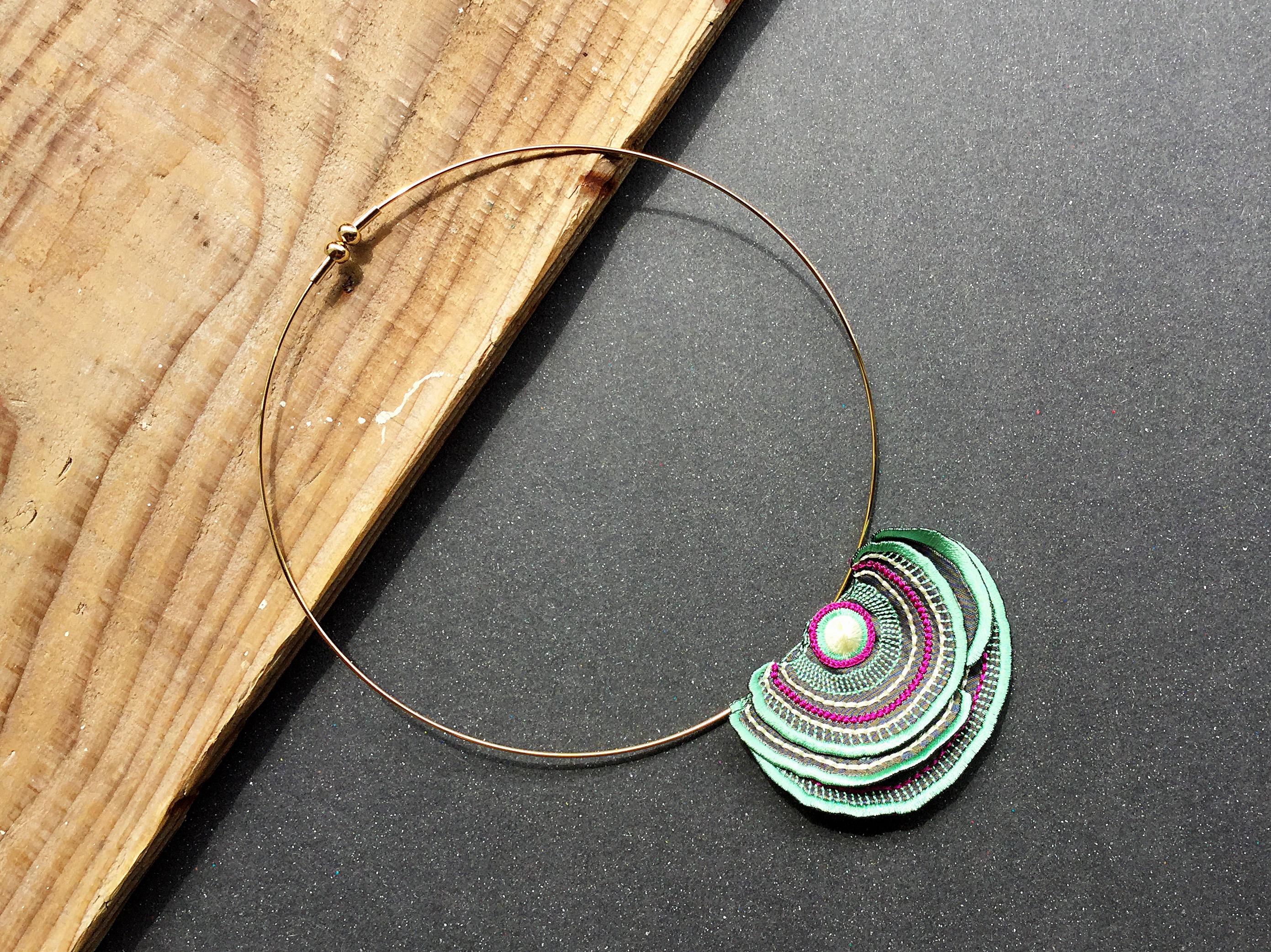 ARRO / Embroidery choker / Turkey Tail / mint green