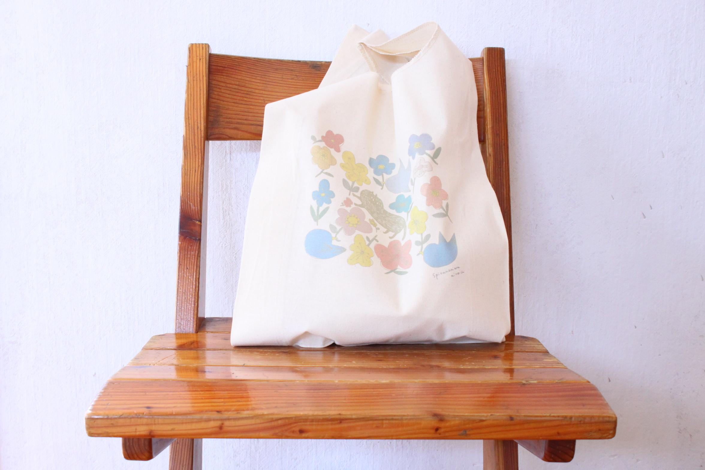 スピカノニワ/マルシェ・エコバッグ・レジ袋型 /猫と鳥と花