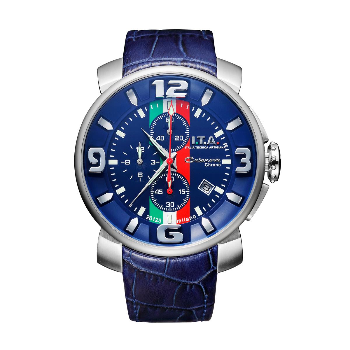 【I.T.A. アイティエー】Casanova chrono Tricolore カサノバ・クロノ トリコローレ(ブルー)/国内正規品 腕時計