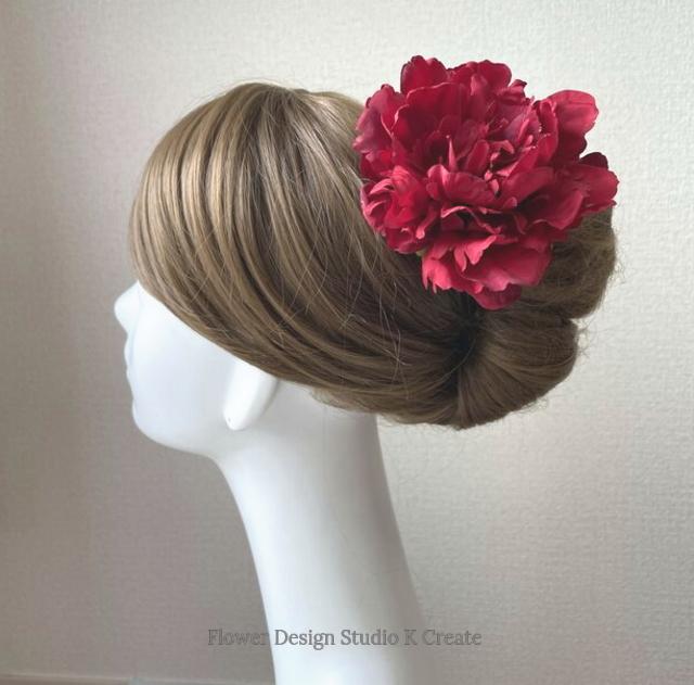 再販:シックな赤いピオニーのヘッドドレス 赤 芍薬 ダンス 髪飾り レッド フラメンコ レッド