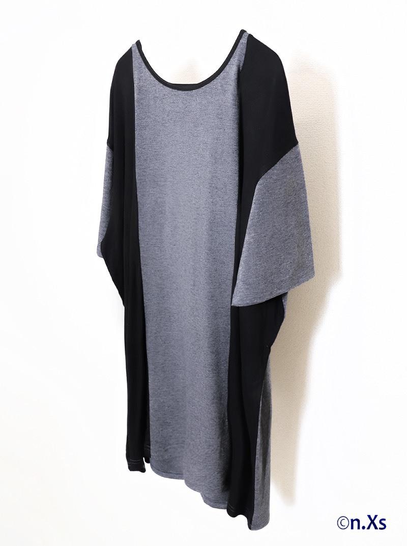 バイカラー ソーサーネックTシャツ BLACK