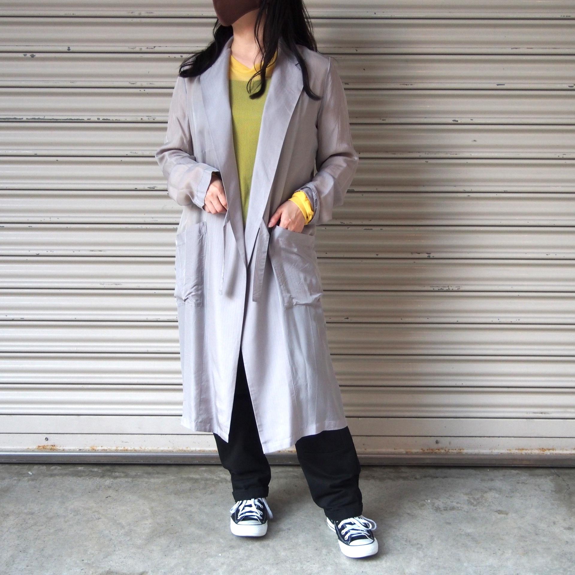 【hippiness】cupro coat( herringbone /15silver)/ 【ヒッピネス】キュプラ コート(ヘリンボーン/シルバー)