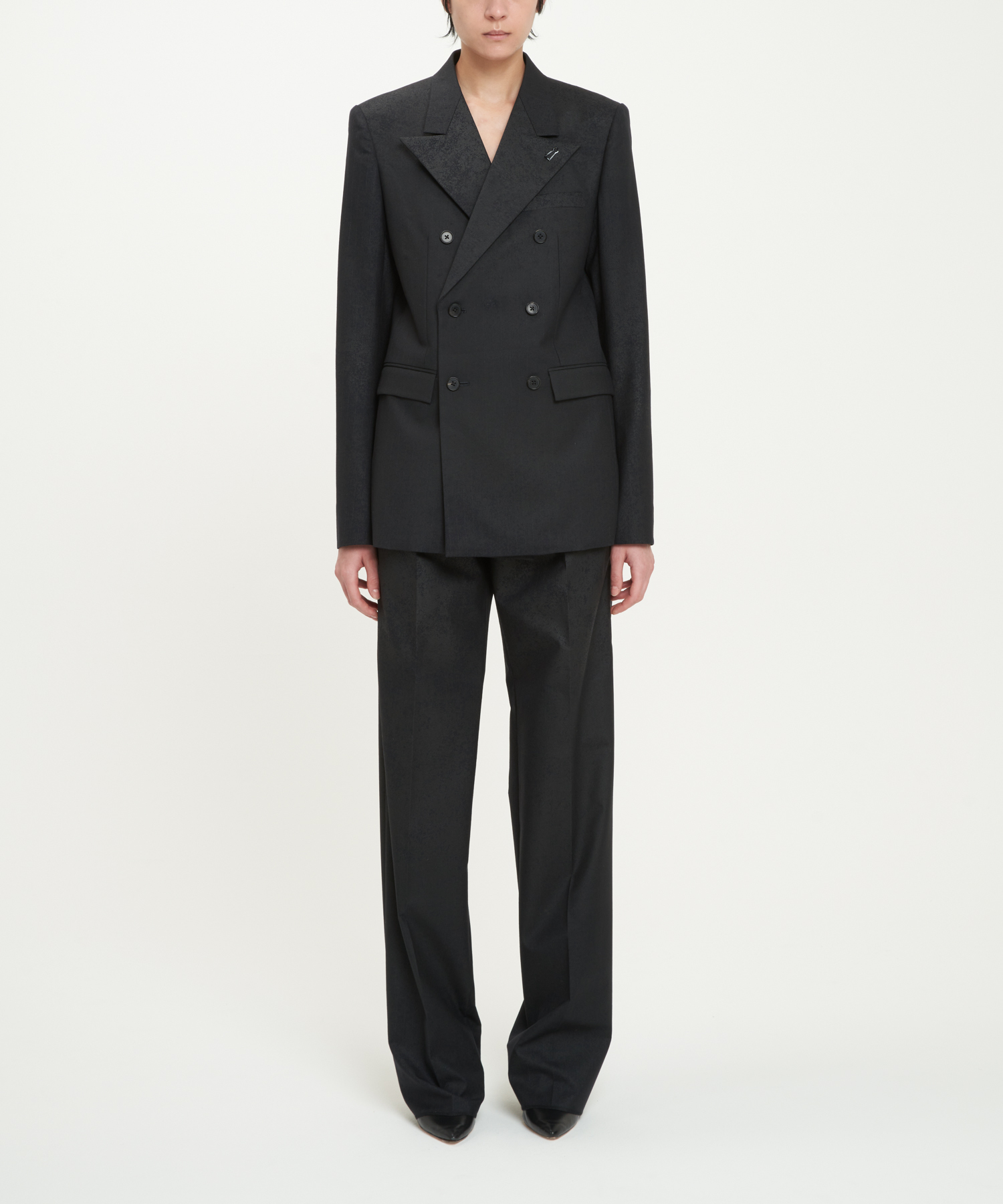 Black Marble Pinstripe Double-Breasted Blazer