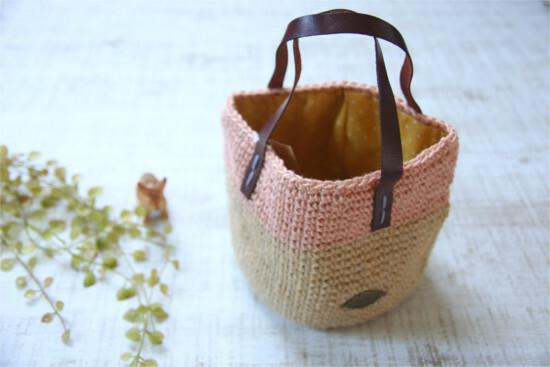 手編みの丸底バッグ*麻 ナチュラル×ピンク/sakura 型番:B-15ナチュラル×ピンク
