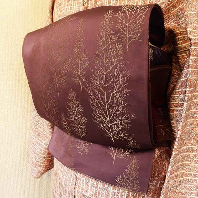 正絹 紫に樹木模様のなごや