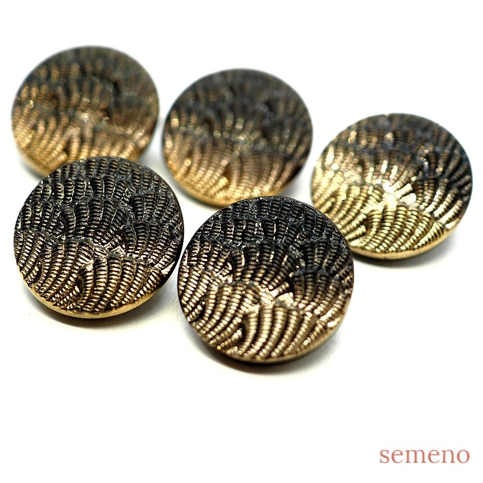 ゴールド 細かい波模様 チェコガラスボタン ヴィンテージボタン