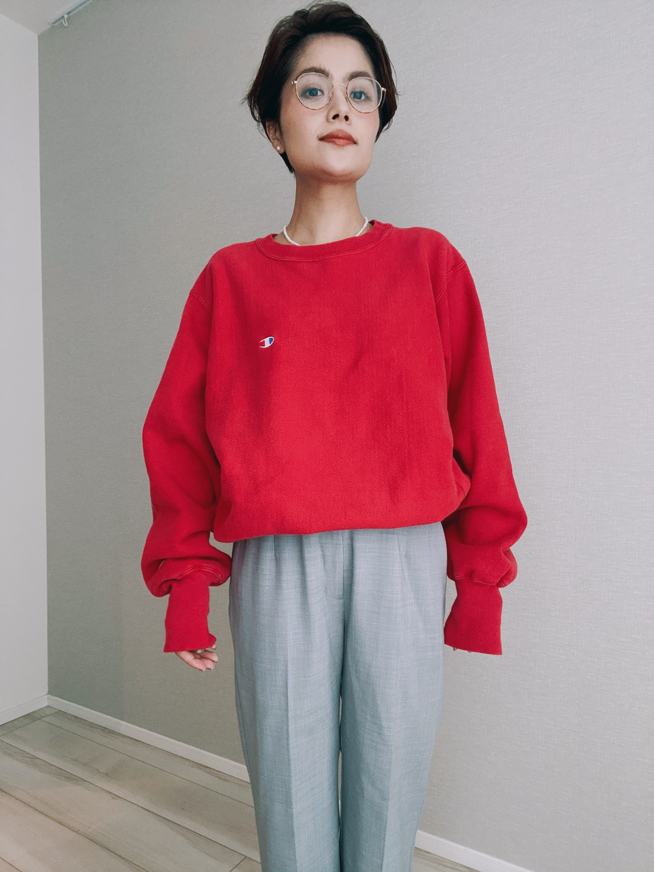 (CS177)90's Champion Reverse Weave made in USA (red)