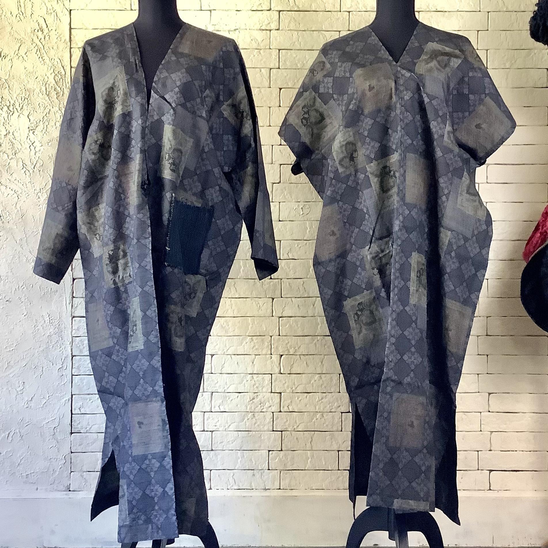 エキゾチックなビンテージ感が特徴的 絹100%アンサンブル(コート&ワンピース) 20AS008
