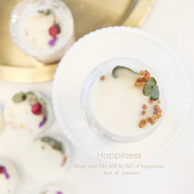 インテリアキャンドル【ミモザ】香りが楽しめるボタニカルアロマワックスケーキ