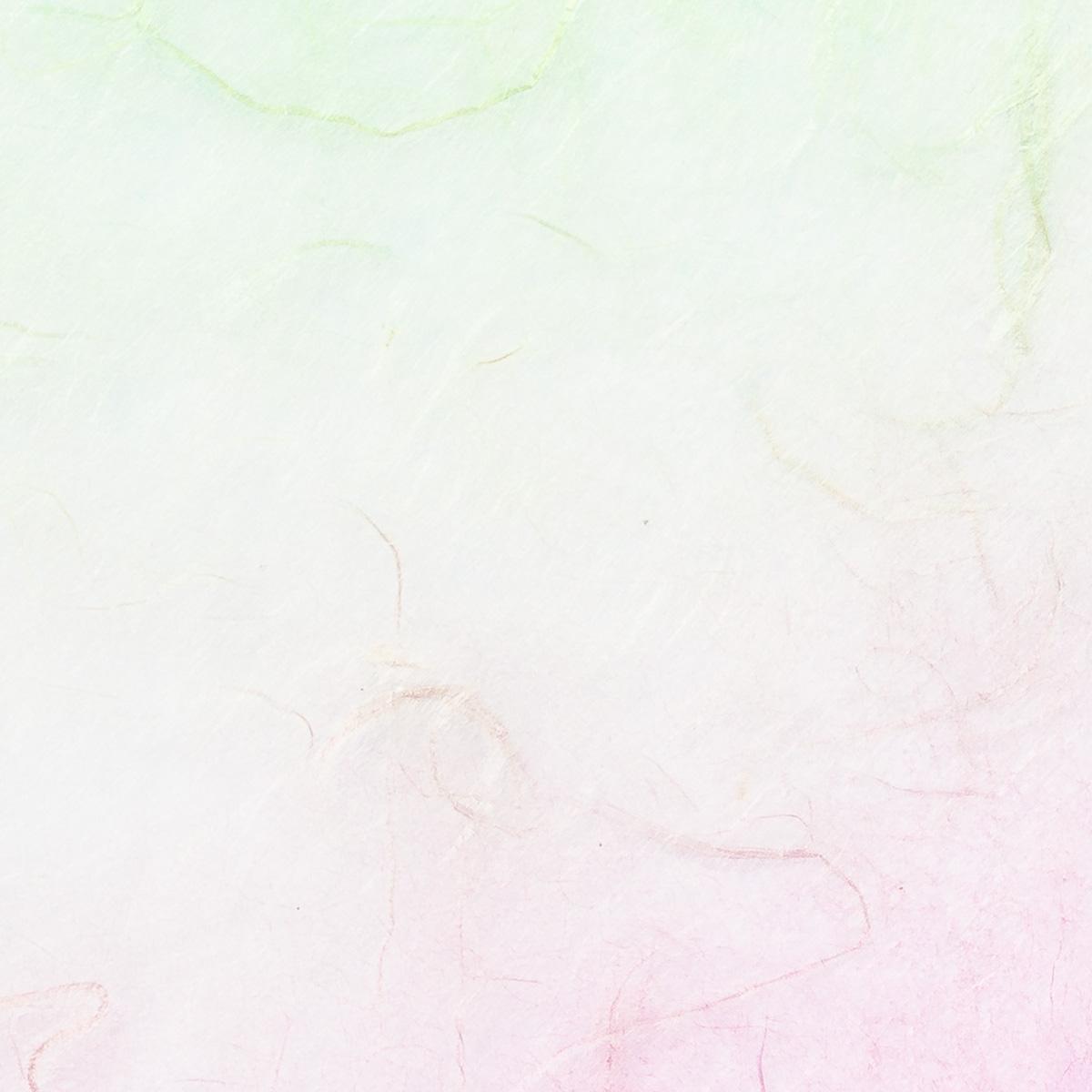 美濃 二色ぼかし雲龍紙 ピンク×緑