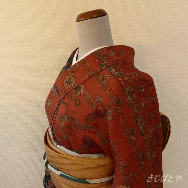 正絹 高麗納戸と雀茶の付け下げ 袷の着物