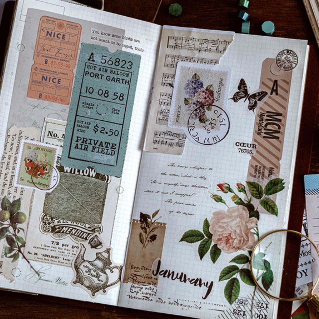 ステッカー メモリーブックシリーズ 全4種 シール 旅行 旅 物語 スタイル トラベル コラージュ ほぼ日手帳 E13
