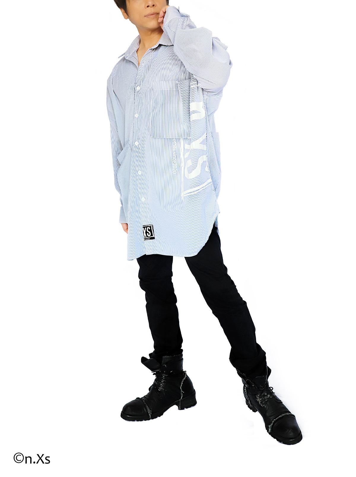 リラックスフィットシャツ      ペンシルストライプ WHITE