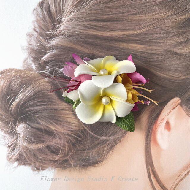 プルメリアとブーゲンビリアのヘアクリップ:B 髪飾り トロピカルフラワー 南国 フラ フラダンス