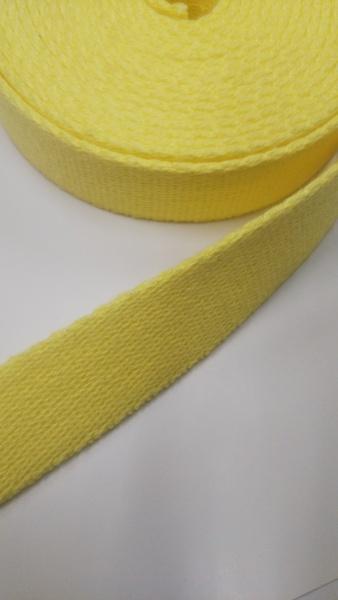 店頭ワゴンセール! しっかり厚めのアクリル三つ綾織 25mm幅 レモンイエロー 4m巻前後