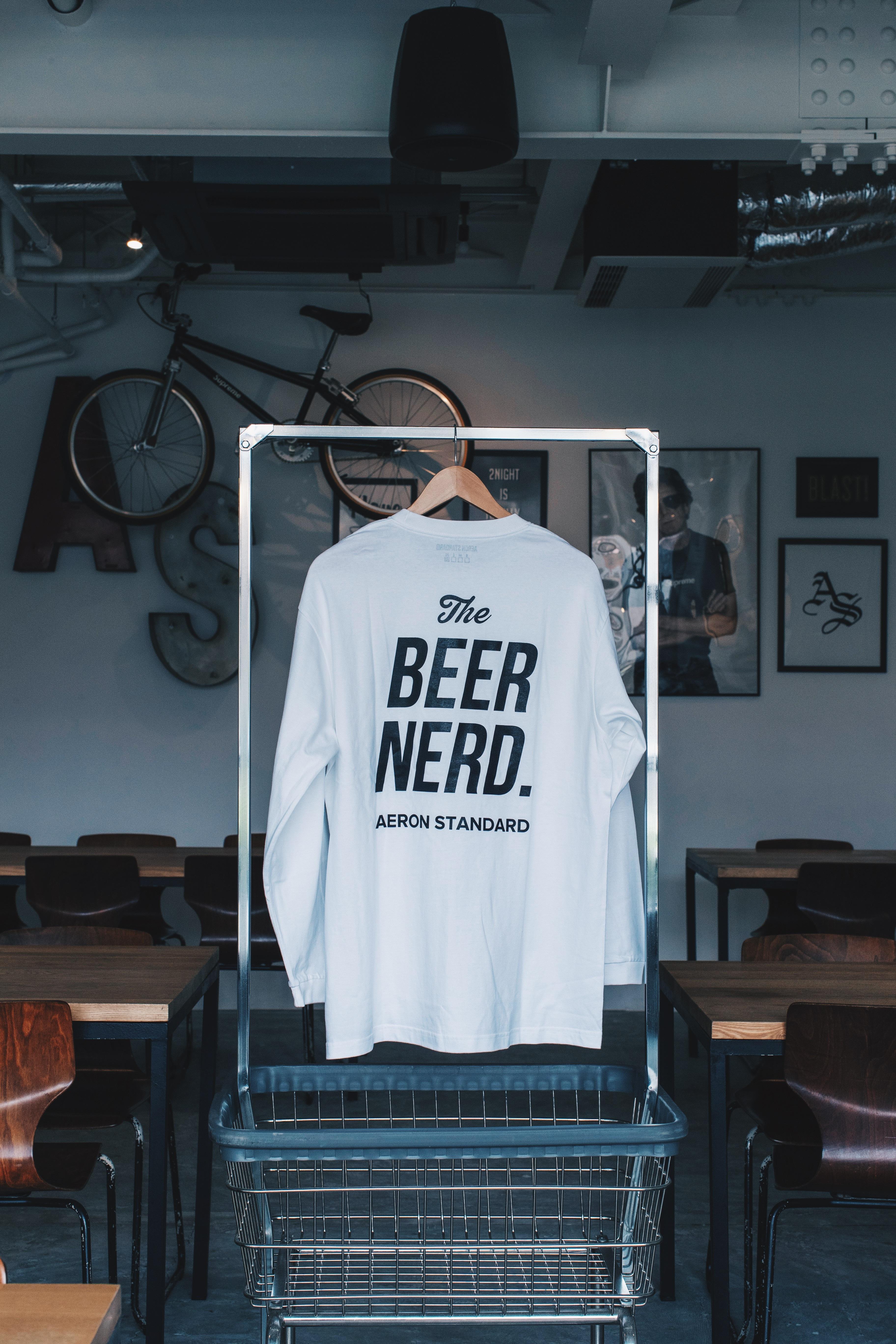 BEER NERD L/S TEE WHITE