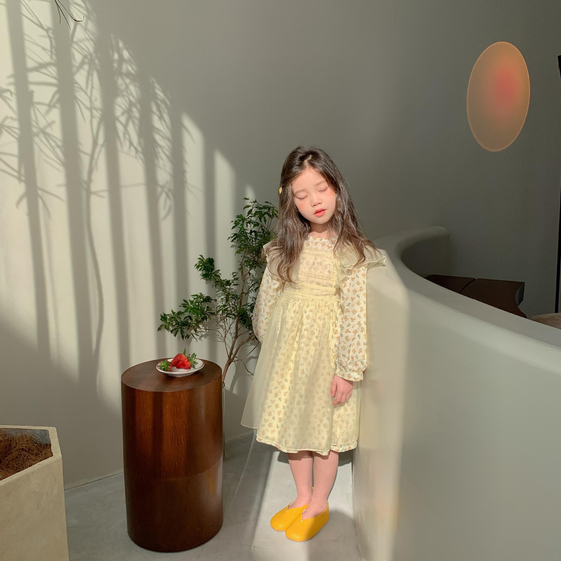 【即納】レイヤード 小花柄ワンピース エプロン 2021SS 春夏 韓国子供服