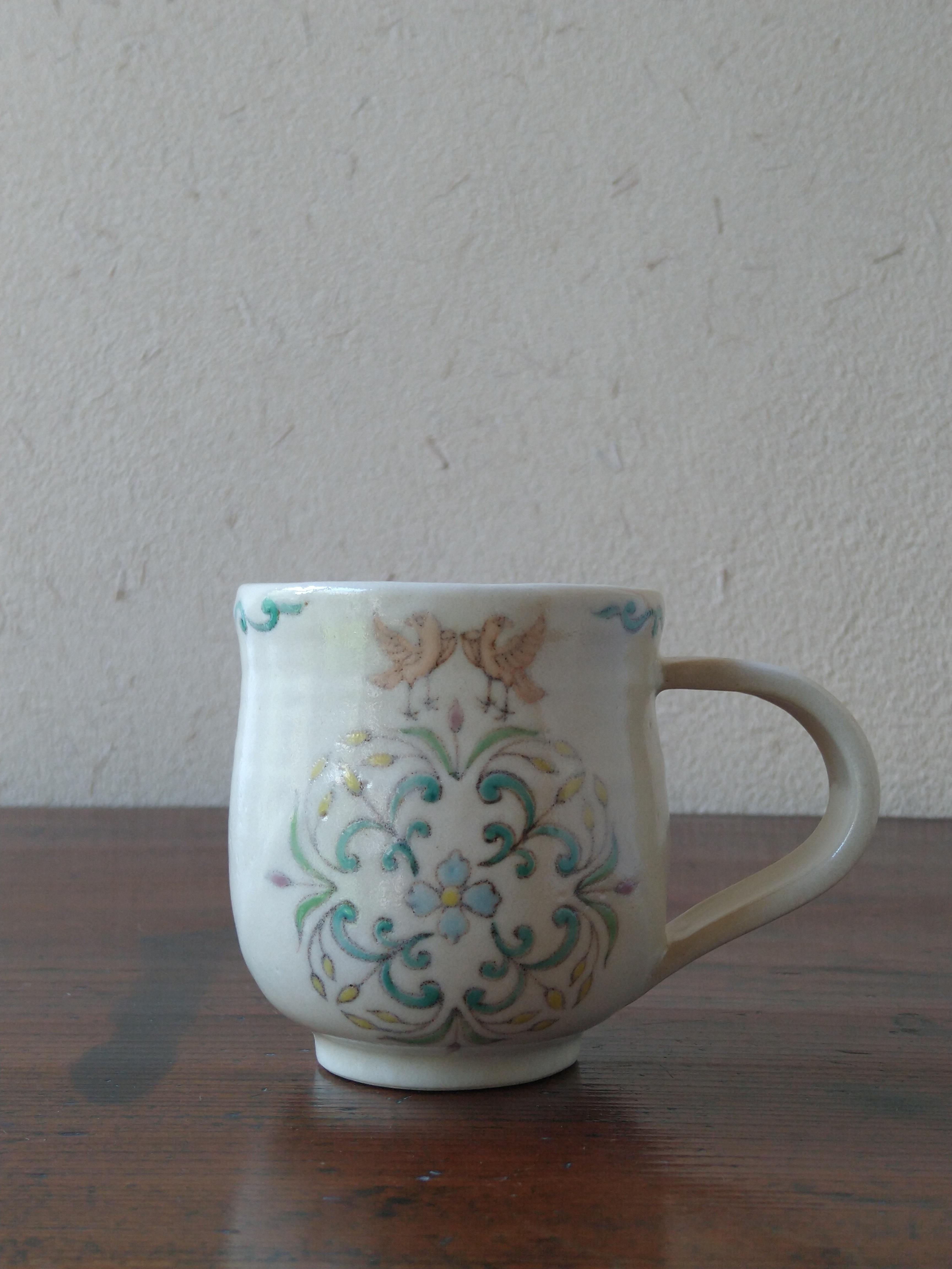 鉄彩草木鳥文 コーヒーカップ