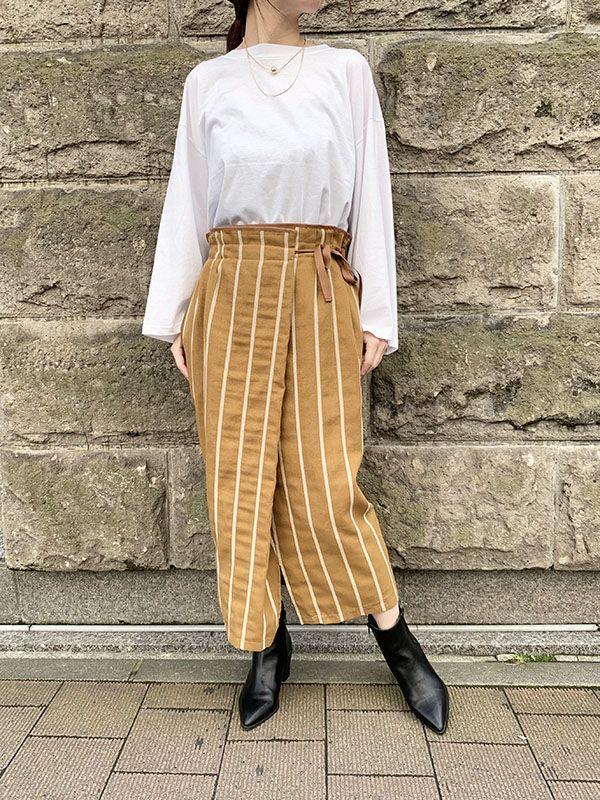 ラップ風ストライプスカート[Color:キャメル]