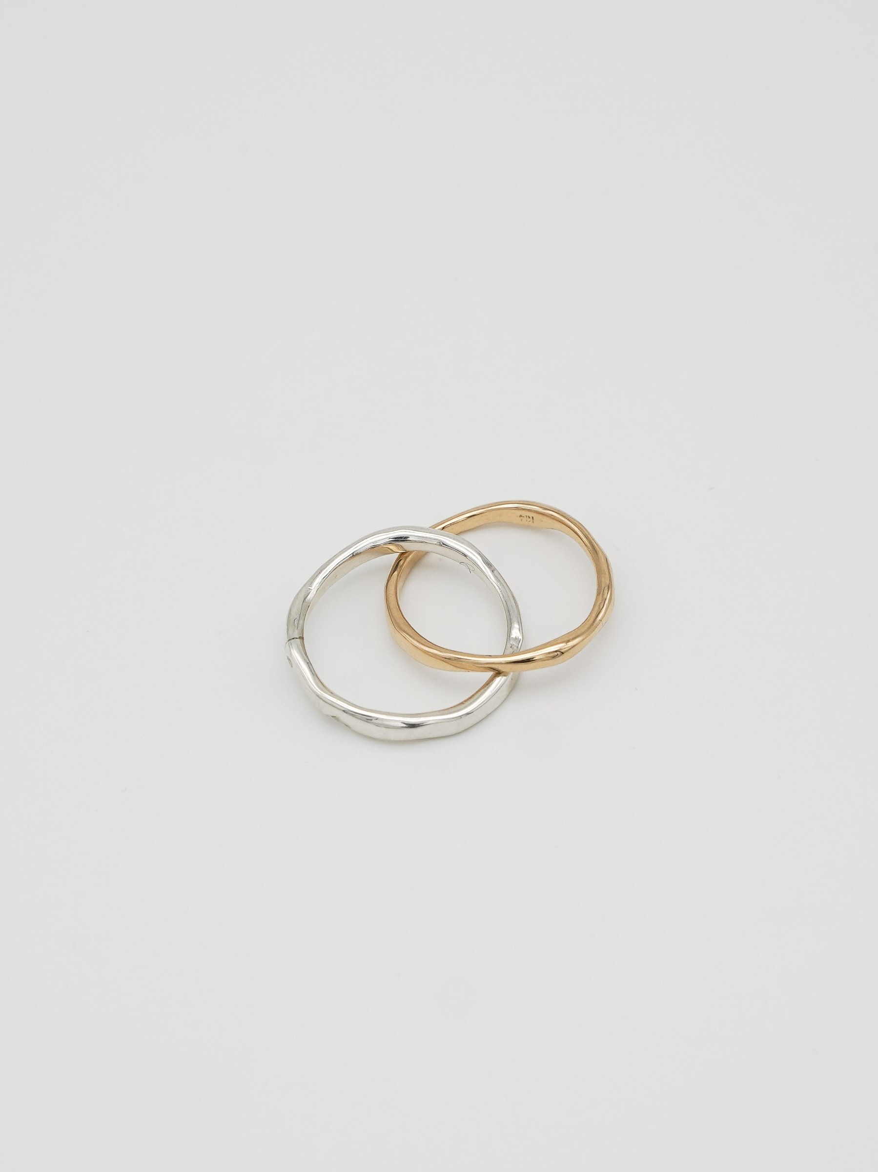raw combination twin ring K14 × silver(再入荷)