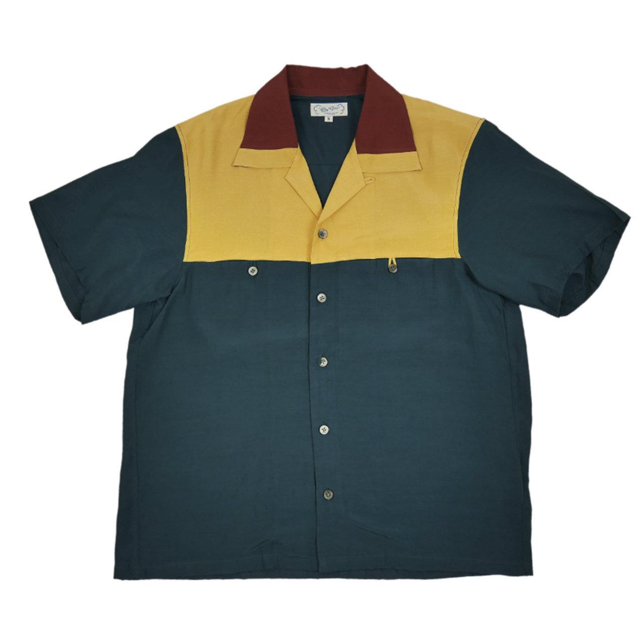 【Or Glory】 50's マルチカラー パネル切り替え オープンシャツ 〈Green〉