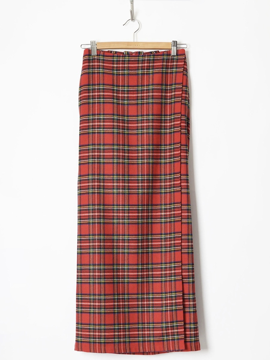 【HOLIDAY】WOOL CHECK RESIZE WRAP SKIRT