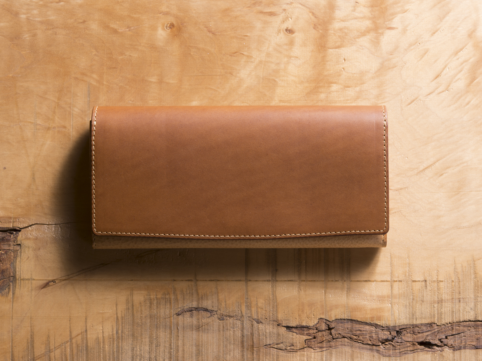 Basic Long wallet #コニャック