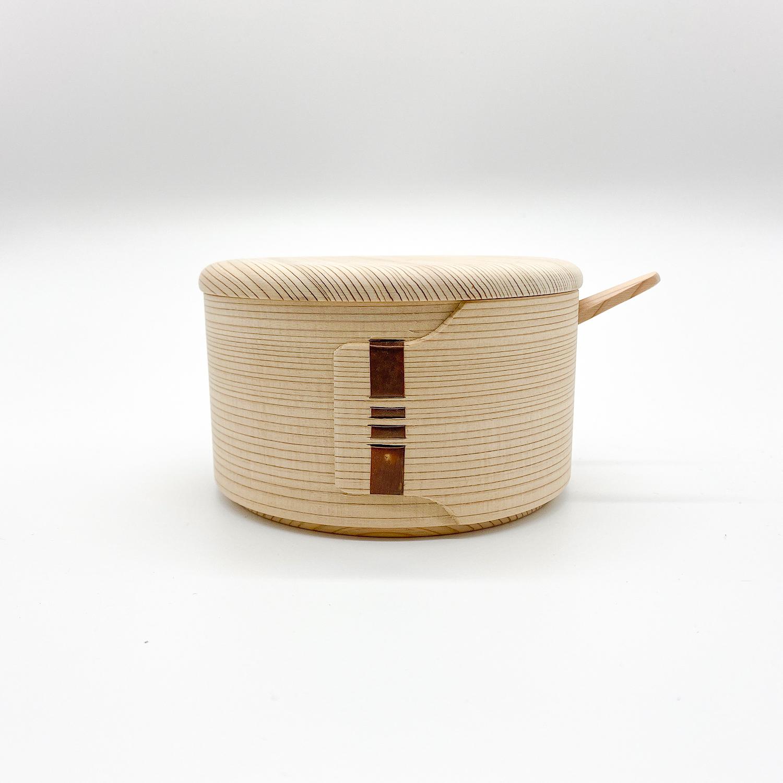 柴田慶信商店 曲げわっぱ|白木のバターケース|丸